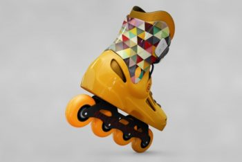 Free Cool Bright Rollerblades Mockup in PSD