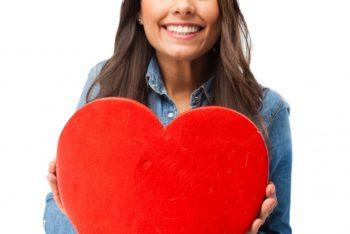 Free Romantic Teenager Plus Heart Mockup in PSD