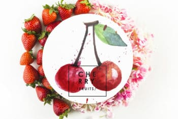 Free Cherry Plus Strawberry Mockup in PSD