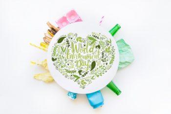 Free Round Paper Plus World Environment Day Mockup