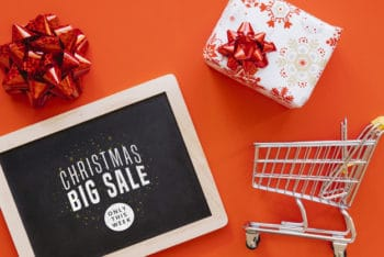 Free Christmas Sale Concept Mockup in PSD