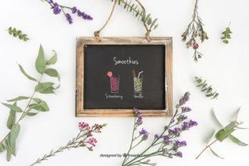 Free Refreshing Smoothies Slate Mockup in PSD
