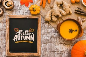 Free Autumn Vegetable Soup Plus Slate Mockup