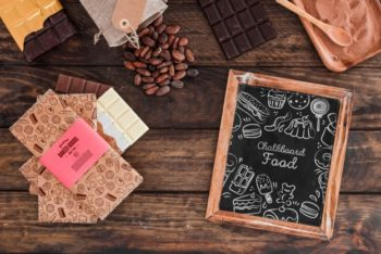 Free Chocolate Kitchen Plus Slate Scene Mockup in PSD