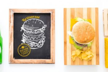 Free Hamburger Restaurant Slate Mockup in PSD