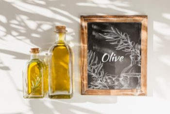 Free Olive Oil Bottle Plus Slate Mockup in PSD