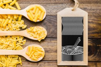 Free Uncooked Pasta Plus Slate Mockup in PSD