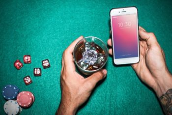 Free Mobile Phone Plus Casino Scene Mockup in PSD