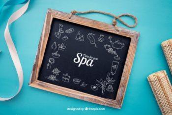 Free Spa Slate Signboard Mockup in PSD