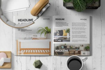 Free Square Magazine Plus Headphones Mockup in PSD