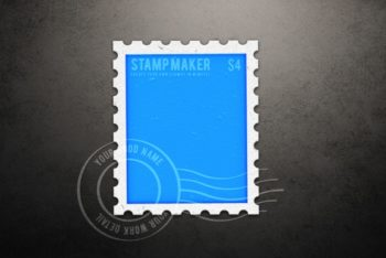 Free Letter Stamp Design Mockup in PSD