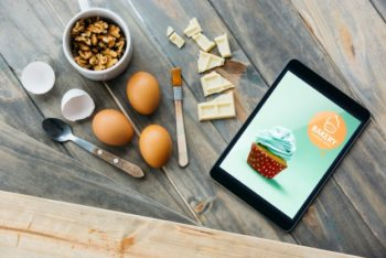 Free Pastry Cooking Plus Tablet Mockup in PSD
