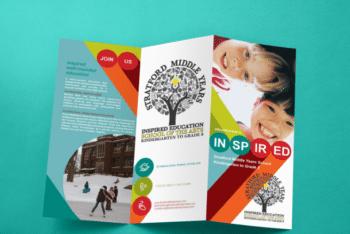 Colorful Trifold Brochure PSD Mockup