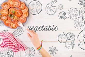Free Tomato Salad Scene Mockup in PSD