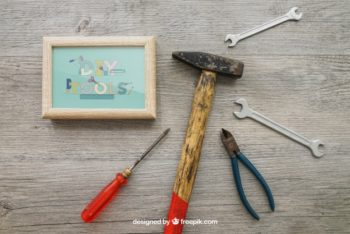 Free DIY Home Tools Mockup in PSD