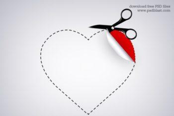 Free Heart Shaped Sticker Mockup in PSD