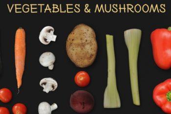 Free Vegetables Plus Mushrooms Mockup in PSD