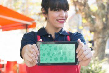 Free Restaurant Waitress Plus Tablet Mockup in PSD