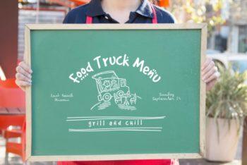 Free Food Truck Menu Plus Waitress Mockup in PSD