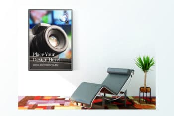 Indoor Wall Poster PSD Mockup – Beautiful Design Blends with Useful Features