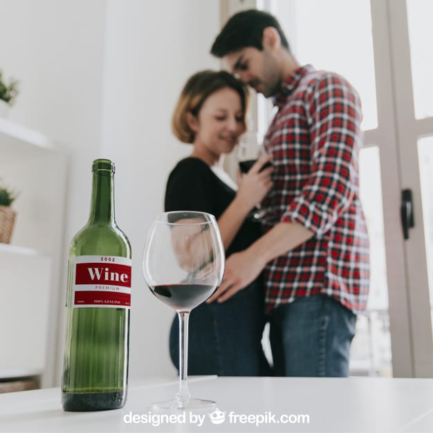 Wine Plus Loving Couple