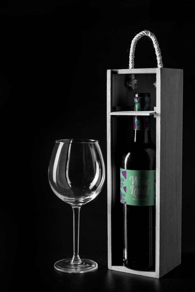 Gift Wine Plus Wooden Box Mockup