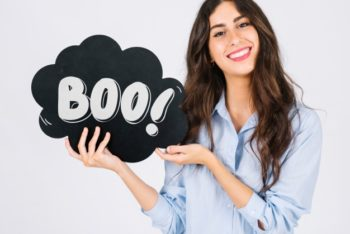 Free Woman Holding Halloween Speech Bubble Mockup