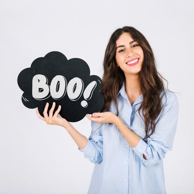 Woman Holding Halloween Speech Bubble