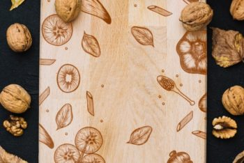 Free Wooden Autumn Cutting Board Mockup