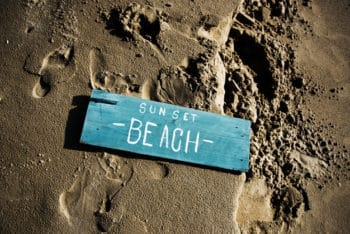 Free Wooden Sign Plus Beach Mockup in PSD