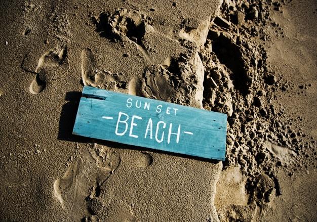 Wooden Sign Plus Beach