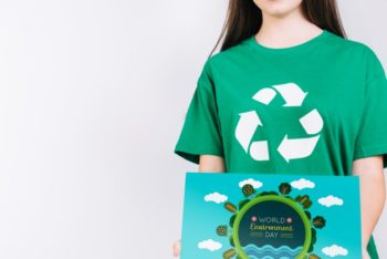 Free Woman Plus Recycling Concept Mockup in PSD
