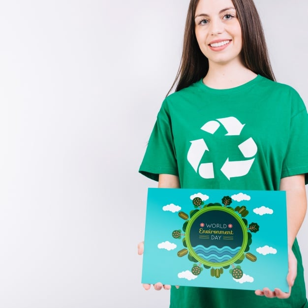 Woman Plus Recycling Concept