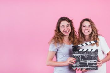 Free Young Girls Plus Clapperboard Mockup in PSD