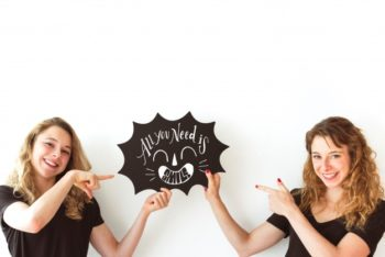 Free Twin Young Girls Plus Speech Bubble Mockup in PSD