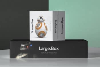 Square Shaped Packaging Box PSD Mockup