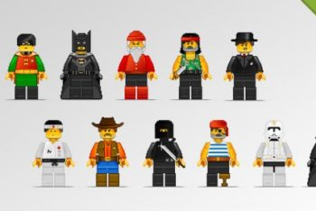 Free Pixel Lego Characters Mockup in PSD