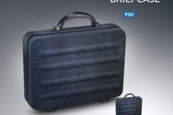 Free Classy Black Briefcase Mockup in PSD