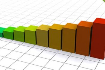 Free Colorful 3D Chart Infograph Mockup in PSD