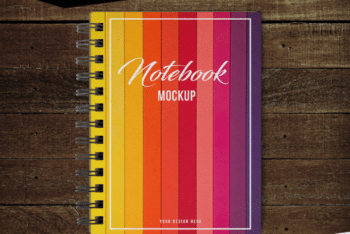 Colorful & Customizable Notebook PSD Mockup