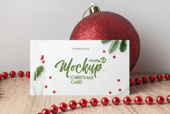 Stunning Christmas Card PSD Mockup – Available With A Photorealistic Appearance