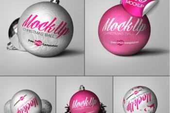 Eye-catchy Free Christmas Ball PSD Mockup
