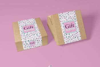 Paper-made Gift Box PSD Mockup for Designing Useful Packaging Option