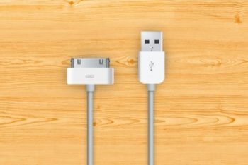 Free Apple Charger Cables Mockup in PSD