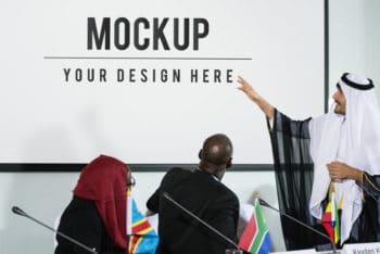Free Intercultural Meeting Scene Mockup in PSD