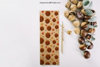 Free Autumn Nuts Scene Mockup in PSD