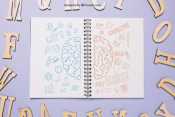 Free Brain Hemisphere Notebook Drawing Mockup