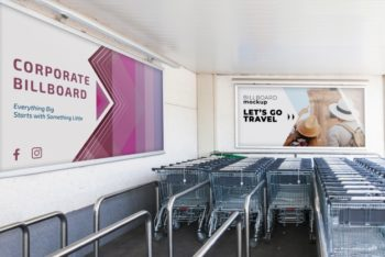 Free Supermarket Billboard Plus Shopping Carts Mockup