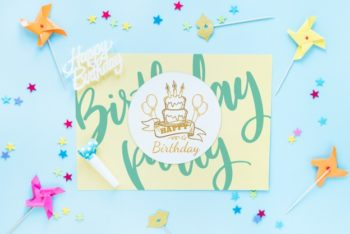 Free Fun Birthday Card Design Mockup in PSD