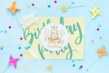 Free Fun Birthday Card Design Mockup in PSD